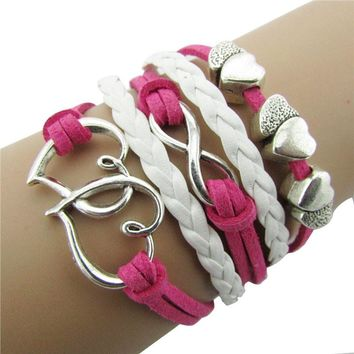 Hot Pink Infinity Double Love Friendship Leather Alloy Charm Bracelet, Prenda para mujer