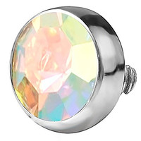 14g 316L Internally Threaded Ultra Thin Flat Disc Aurora Borealis 4.4 mm Gem Top for Dermal Piercing