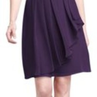 David's Bridal Lapis (Dark Purple) Strapless Crinkle Chiffon With Front Cascade Dress 67% off retail