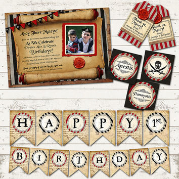 Ahoy There Mateys - Pirate Birthday Party Pack - Rustic, Vintage Design - Skulls and Swords - Customized to your Party needs