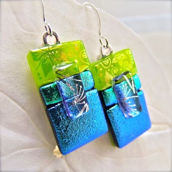 Cool Lagoon Dichroic Earrings