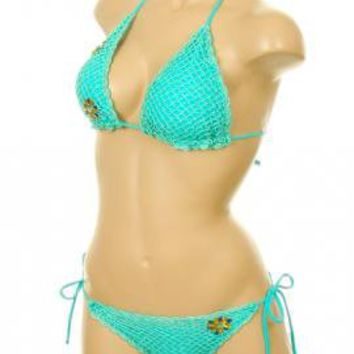 Mermaid's Kiss Crochet Scallop Edge Triangle Bikini Set in Sea Foam | Sincerely Sweet Boutique