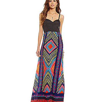 Gianni Bini Tanner Geo-Print Sweetheart Maxi Dress | Dillards.com
