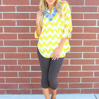 Chiffon and Chevron Yellow Marine Top - Modern Vintage Boutique