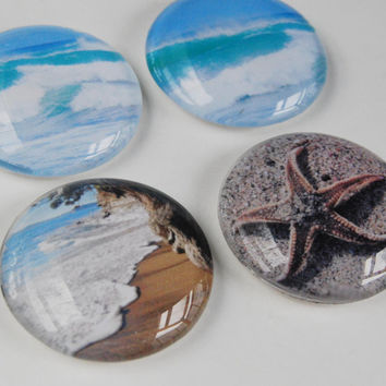 Glass magnet beach theme set - starfish and sea photos, fridge magnet, beach home decor