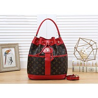 LV Trending Women Shopping Bag Leather Handbag Shoulder Bag Crossbody Satchel Bucket Bag Red