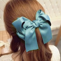 Towallmark 1PC Beautiful Elegant Lady Multi Color Satin Ribbon Bow Hair Clips Barrette Ponytail Holder For Girls (Blue)