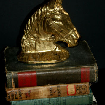 Vintage Brass Horse Bookends, Home Office Decor, Bronzed Heads, Antique Alchemy