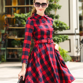 Plaid Long Sleeve Skater Midi Dress