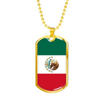 Mexican Pride - 18k Gold Finished Luxury Dog Tag Necklace