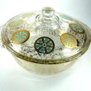Fire King 2 Quart Covered Casserole Designed by Georges Briard Gold and Turquise Medallion