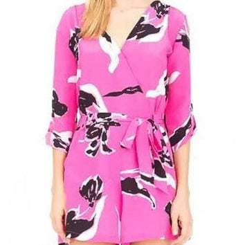 Pink Flowers Printed V-neck Half Sleeve Rompers