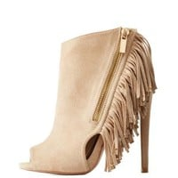 Taupe Studded Fringe Peep Toe Booties by Qupid at Charlotte Russe