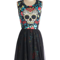 ModCloth Skulls Mid-length Sleeveless A-line Skeleton Crew Dress