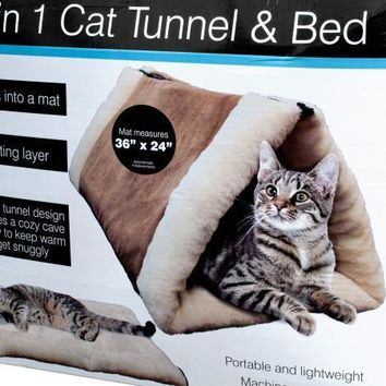 Portable 2 In 1 Cat Tunnel And Bed With Heating Layer