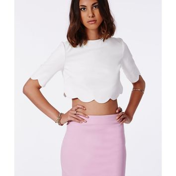 Missguided - Hattie Crepe Scallop Two Piece Bodycon Dress Lilac