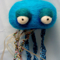 Needle Felted Cute Blue Jellyfish by uglyclothes on Etsy