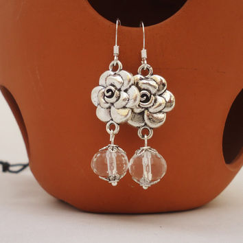 Clear Quartz Earrings, Flower Earrings, Gemstone Earrings, Bridal Earrings