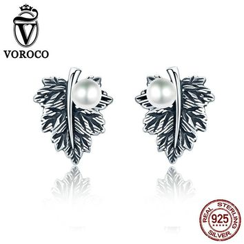 Vintage Pearl Jewelry Earrings 100% Genuine 925 Sterling Silver Leaves Maple Leaf Pearl Stud Earrings For Women Fine Jewelry