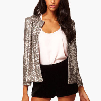 Sequined Long Sleeve Cardigan