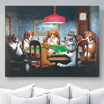 Dogs Playing Poker HD Canvas Print Wall Stickers Fashion Home Decor Living Room bedroom Oil Paintings