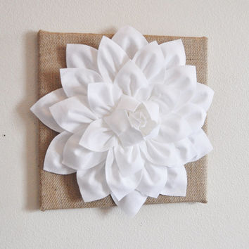 "Wall Flower -White Dahlia on Burlap 12 x12"" Canvas Wall Art- 3D Felt Flower"