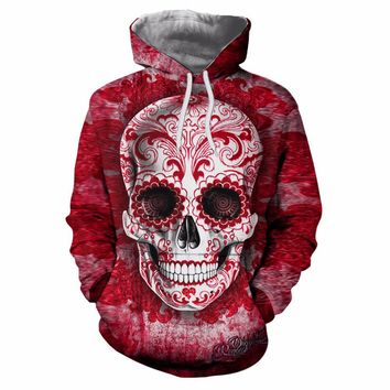 New 3d Skull Print Hooded Sweater Men and Women Couple Sweater
