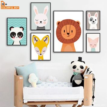 COLORFULBOY Lion Deer Panda Rabbit Dog Kids Wall Art Canvas Painting Animal Posters And Prints Wall Pictures Kids Room