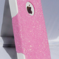 Custom Glitter Case Otterbox for iPhone 4/4S Blush Pink/White