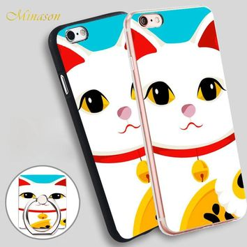 Minason HOP Japanese lucky cat Mobile Phone Shell Soft TPU Silicone Case Cover for iPhone X 8 5 SE 5S 6 6S 7 Plus