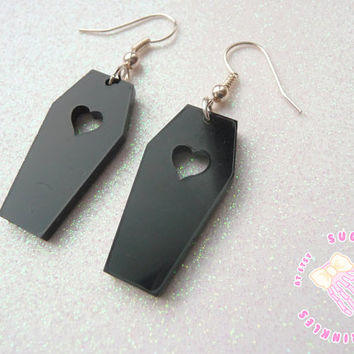 Black coffin cutie earrings