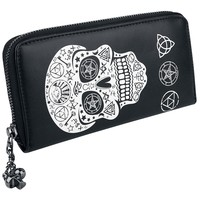 Gothic Rockabilly Skull Pentagram Black Magic Zip Around Wallet