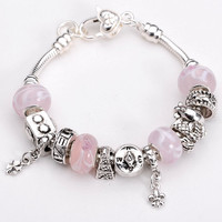 .925 Sterling Silver Snake Chain European Style Charm Bracelet with European Style Glass Beads and Charms