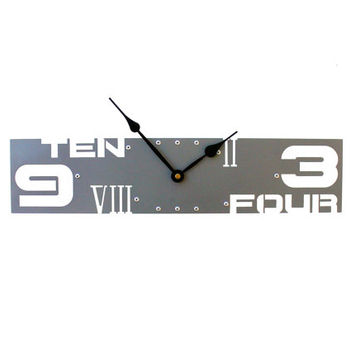 Outnumbered IV, Large Wall Clock, Metal, Giant, Family, Custom Art, With Numbers, Personalized, Rectangle, Non Ticking, Unusual, Dark Gray