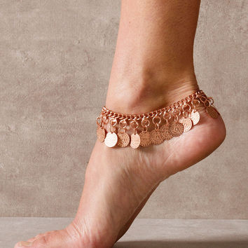 Copper Coin Anklet