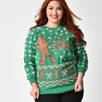 Plus Size Green Cotton Oh Snap Gingerbread Man Long Sleeved Sweater