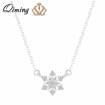 QIMING Pure Snowflake Crystal Necklace For Women Ladies Silver Gold Jewelry Winter Christmas Gift Statement Chain Necklaces