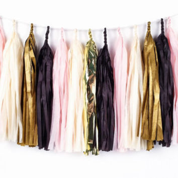 Pink and Gold Glam Tassel Garland - Black, Ivory, Pink, Gold Tissue Paper Tassel Garland - Party Decoration // Wedding Decor // Nursery