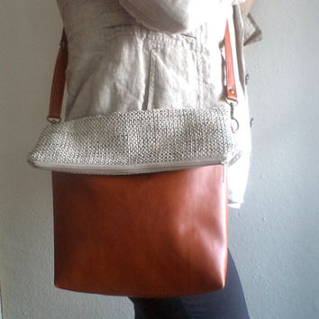 Crossbody bag, Everyday purse, Shoulder bag, Foldover Vegan Leather and Upholstery Fabric Bag