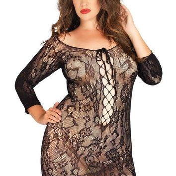 DCCKLP2 Long sleeved floral lace mini dress with lace up net detail PLUS SI BLACK