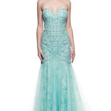 Prom Evening Beading Long Lace Dress