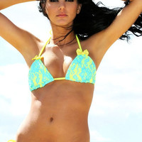 Lace Swimwear - Neon Yellow Turquoise Scrunch Butt Bikini