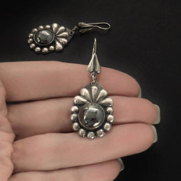 Vintage LONG Gemstone Earrings 950 STERLING Hematite Dangles Silver Flower Drops Earwires Pierced Ears, Vintage Womens Jewelry, Gift for Her