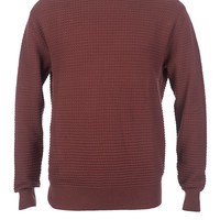 Burgundy Waffle Knit Pull Over Sweater