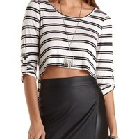 Ivory Combo Cropped Extreme High-Low Tee by Charlotte Russe