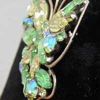Vintage Butterfly Brooch Yellow And Lime Green Marquis And Round Shaped Stones c1950