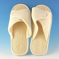 SeaSationals™ Loofah Bath & Spa Slippers - Velcro Adjustable Slippers