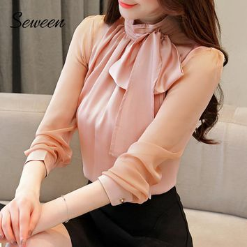 Elegant Chiffon Long Sleeve Stand Collar Ladies Top With Bow Tie