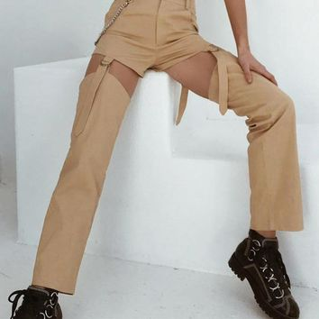ribbon strapped khaki trousers