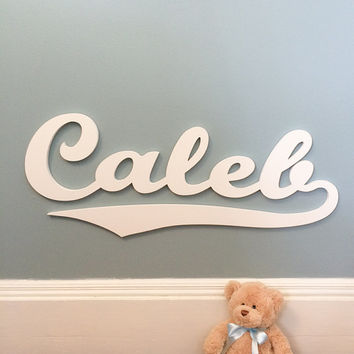 Baseball Style Wooden Name sign Name Plaque Large PAINTED Personalized nursery name baby name nursery decor wooden wall art, above a crib